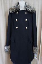 INC Pea coat Sz M Black Knee Length Gold Detail Faux Fur Casual Outer Wear