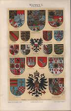 Chromo-Lithografien 1897: WAPPEN I-IV. Deutschland Europa Africa America Asien