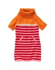 NWT 9 Gymboree Cozy Cutie orange green pink red striped cowl neck sweater dress