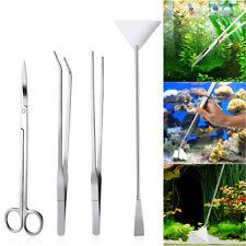 4PCS Steel Aquarium Tank Aquatic Plant Tweezers and Scissors Spatula Tool Set