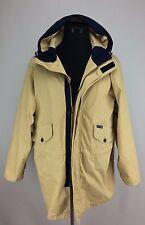 Vtg Mens Tommy Hilfiger Tan Navy Blue Windbreaker Jacket Sz M Hood Double Zipper