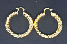 NEW PAIR 18CT YELLOW GOLD FILLED TWIST CREOLE EAR HOOP HOOPS DANGLE EARRINGS