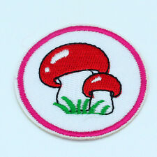 2PCS Mushroom Embroidered Iron on Patches Badge Cartoon applique Cute Tag Kids