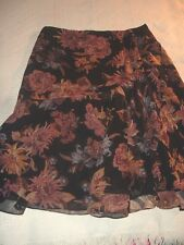 Lauren Ralph black brown large floral print tiered ruffle front silk skirt 12