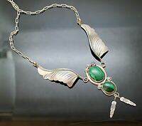 MARGIE CHEE NAVAJO VINTAGE MALACHITE DANGLE FEATHERS STERLING SILVER NECKLACE 16