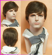 Men 's short full wig hairpiece 100% Natural human hair Man wigs,Easy to restyle