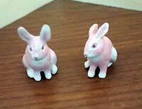 OOAK Art made Miniature dollhouse Pink Rabbit set of 2 – Signed B