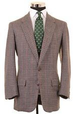 VTG Chester Barrie Gray Brown Houndstooth Check TWEED Wool Sport Coat Jacket 42R