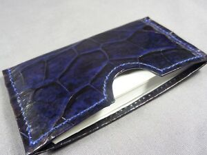 Genuine Blue Alligator Skin Deluxe Credit Card Sleeve, Card holder, Wallet 4