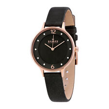 Skagen SKW2267 Anita Rosetone Crystal Gray Leather Womens Watch