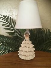 *Rare* Josef Style Japan Victorian Woman in Ruffled Dress Porcelain Table Lamp