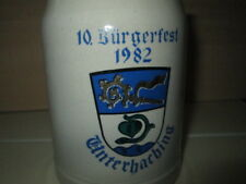 Rare 1982 West German Stein Mug Unterhaching Pottery Ceramic Burgerfest 0.5 L