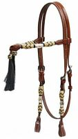 Western Saddle Horse Futurity Knot Bridle Headstall w/ Reins + Horsehair Tassels