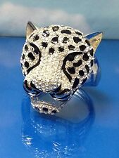 HUGE  TIGER HEAD  SILVER BANGLE CUFF BRACELET w/ BLACK SPOTS & WHITE RHINESTONES