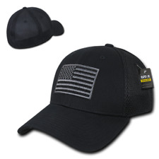 Black USA US American Flag Tactical Operator Mesh Flex Fit Baseball Hat Cap
