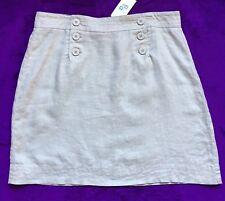 Max Studio 100% Linen Sailor Button Mini Skirt, Size 8, Beige, Tan, 6 Buttons
