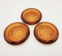"Set of 3 Amber TIARA Sandwich Glass 4.5"" Coaster Candle Holder 1970s Indiana"