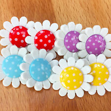 Spotty daisy flower buttons 14mm or 22mm   shank on back  PER 4 BUTTONS