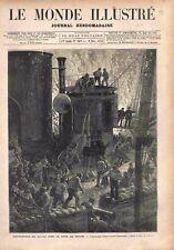 Catastrophe Incendie Marins Pompiers Cuirassé Magenta Rade Toulon GRAVURE 1875