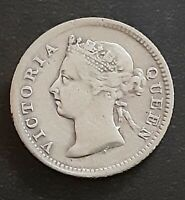 Straits Settlements 5 Cents KM# 10 1895 Queen Victoria .800 Silver Coin *87*