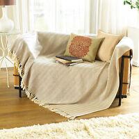 Cream Beige Herringbone 100% Cotton Throw Blanket Sofa Couch Seater, 228x254cm