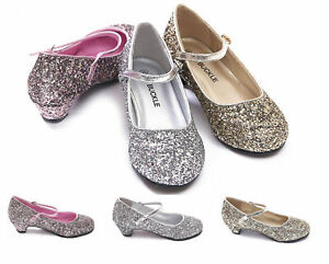 GIRLS KIDS CHILDRENS MARY JANE GLITTER LOW HEEL PARTY WEDDING SANDALS SHOES