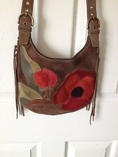 Coach Handbag Poppies for Peace Brown Leather Suede Crossbody Messenger Bag
