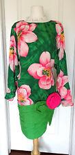 Ann Lawrence Vintage Silk Green/ Pink Floral  Dress w/3D  Flower~Sz 8~ AMAZING~