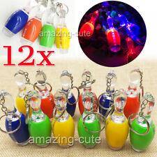 12x Bowling Pins LED Schlüsselanhänger Kegeln Mitgebsel Taschenlampe beleuchtet
