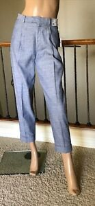 UNIQLO INES DE LA FRESSANGE BLUE LINEN COTTON TUCKED TAPERED PANTS SIZE 6 NWT