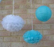 11x blue white paper pom poms lanterns wedding party babyshower venue decoration