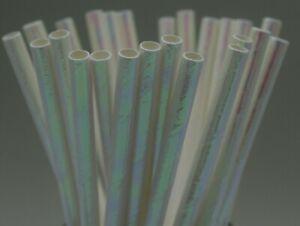 Paper straws party iridescent White birthday wedding UK stock Quantity x 25