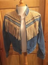 CACHE Western Denim Jacket Coat Jean Suede Leather Fringe Stud Sequin Blue M NEW