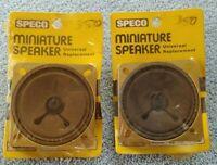 "Pair-2 NOS 1970's SPECO U265S 2-1/2"" Square SPEAKERS Sealed Orig Plastic on Card"