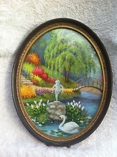 Vtg Oval Picture Frame Colorful Flower garden Print Swan lake Weeping Willow