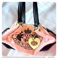JUICY COUTURE Pink Fluffy Scottie Scotty Dog Swarovski Crystal Heart Charm Bag💗