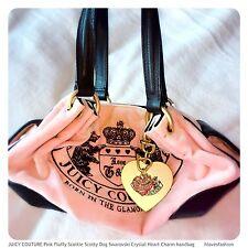 JUICY COUTURE Pink Fluffy Scottie Scotty Dog Swarovski Crystal Heart Charm Bag💗