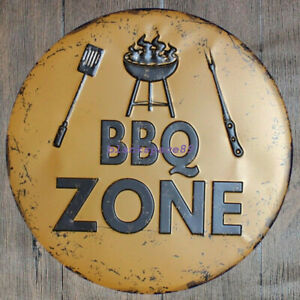 Metal Sign round sign BBQ ZONE  30cm diameter 12 inches