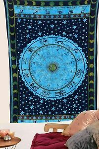 Indian Zodic Mandala Tapestry Wall Hanging bedding Home Deco Hippy Cotton Poster