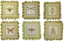 Set of 6 Wool Needlepoint Grasshopper Bee Butterfly Ladybug Dragonfly Pillows