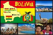 BOLIVIA, SOUTH AMERICA - SOUVENIR NOVELTY FRIDGE MAGNET - SIGHTS / FLAG / GIFTS