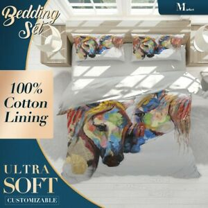 Horse Animals Horses Colourful Quilt Cover Set Single Double Queen King Size