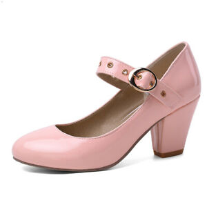 Women's Mary Janes Strappy Pointed Toe Chunky Heeled Party Pumps Shoes US 6 Pink