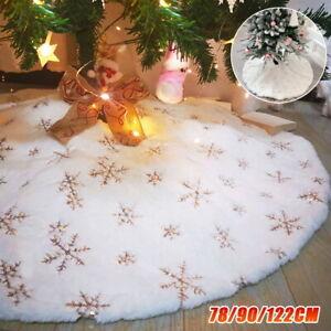 White Christmas Tree Skirt Base Faux Fur Xmas Floor Mat Ornaments Decoration NEW