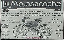 PUBLICITE MOTOSACOCHE BICYCLETTE A MOTEUR VELO BICYCLE SACOCHE DE 1908 FRENCH AD