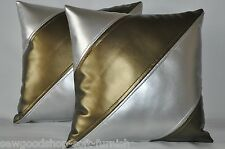 """2 Antique Gold & Silver Dual Stripe Faux Leather Cushion Covers 16"""" 18"""" 20"""""""