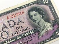 1954 Canada 10 Dollar Circulated Devil Face ID Beattie Coyne Banknote R191
