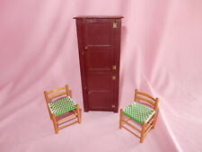 Outstanding Artist Made Shaker Doll House Chimney Cupboard with Two Chairs