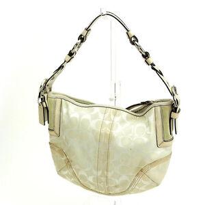Coach Handbag Signature White Woman Authentic Used F523