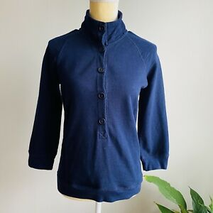 J. Crew Womens Small Mock-Neck Rumpled French Terry Pullover Sweater Navy Blue